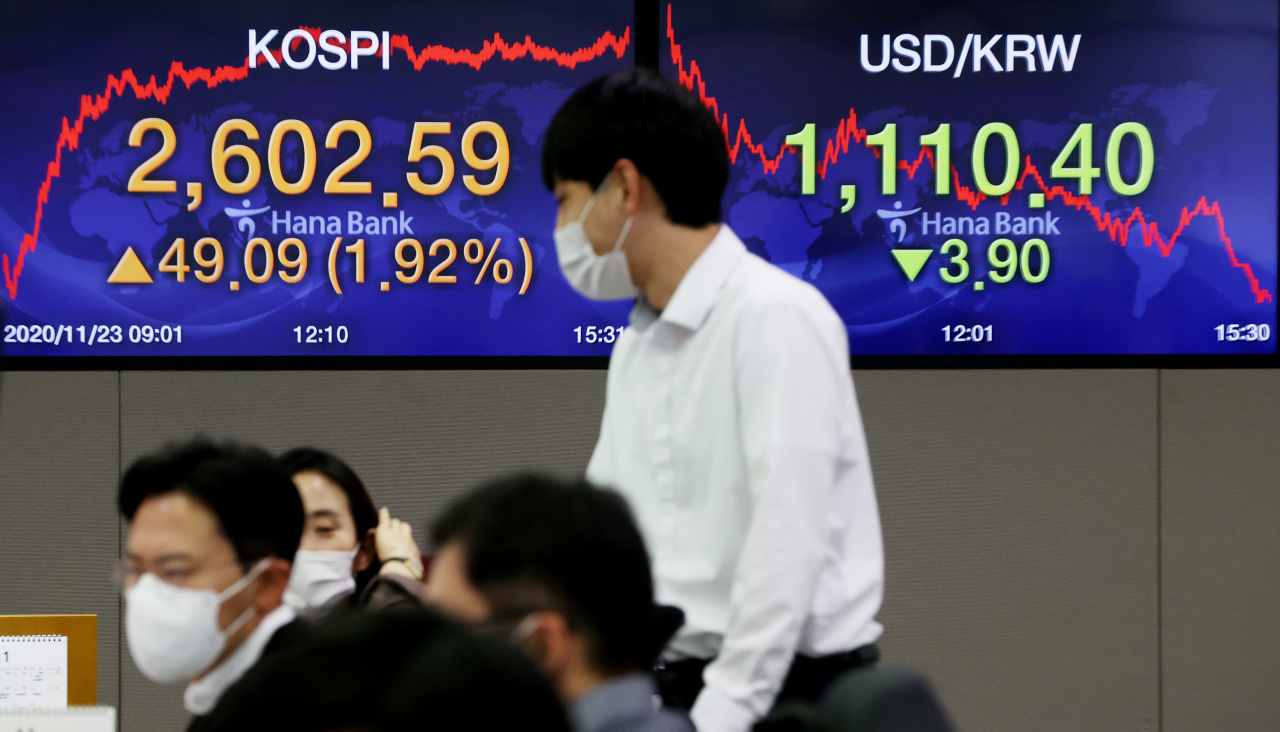 Electronic signboards at the trading room of Hana Bank in Seoul show the benchmark Kospi closed at 2,602.59 on Monday, up 49.09 points or 1.92 percent from the previous session's close. (Yonhap)