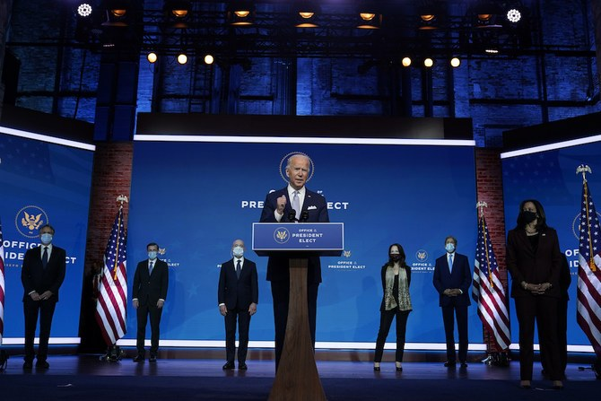 President-elect Joe Biden and Vice President-elect Kamala Harris introduce their nominees and appointees to key national security and foreign policy posts on Tuesday. (AP-Yonhap)