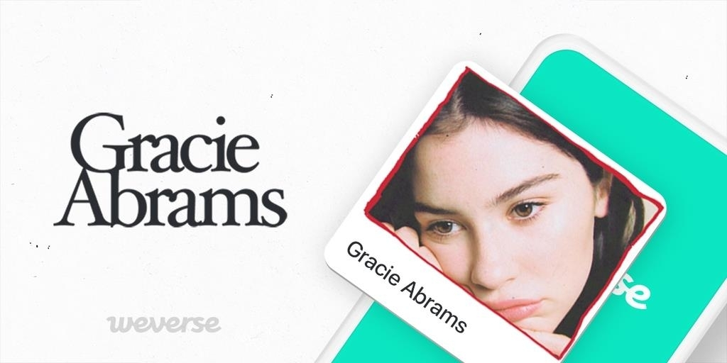Promotional image for Gracie Abrams on fan platform Weverse (Big Hit Entertainment)