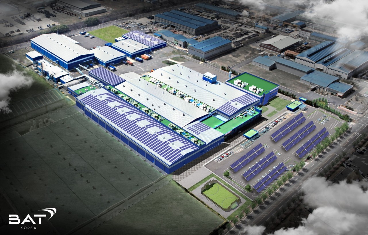 A rendering shows the upcoming solar power facility at the BAT Korea Sacheon factory. (BAT Korea)