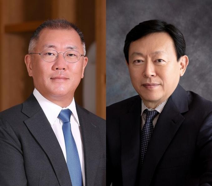 Hyundai Motor Chairman Chung Euisun (left) and Lotte Group Chairman Shin Dong-bin (Each company)