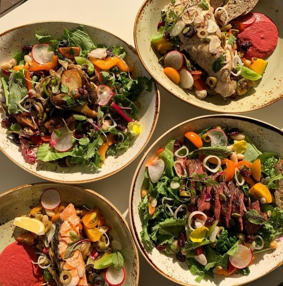 Eight regular and warm salads are available at Orora Burger and Salad. (Photo credit: Orora Burger and Salad)