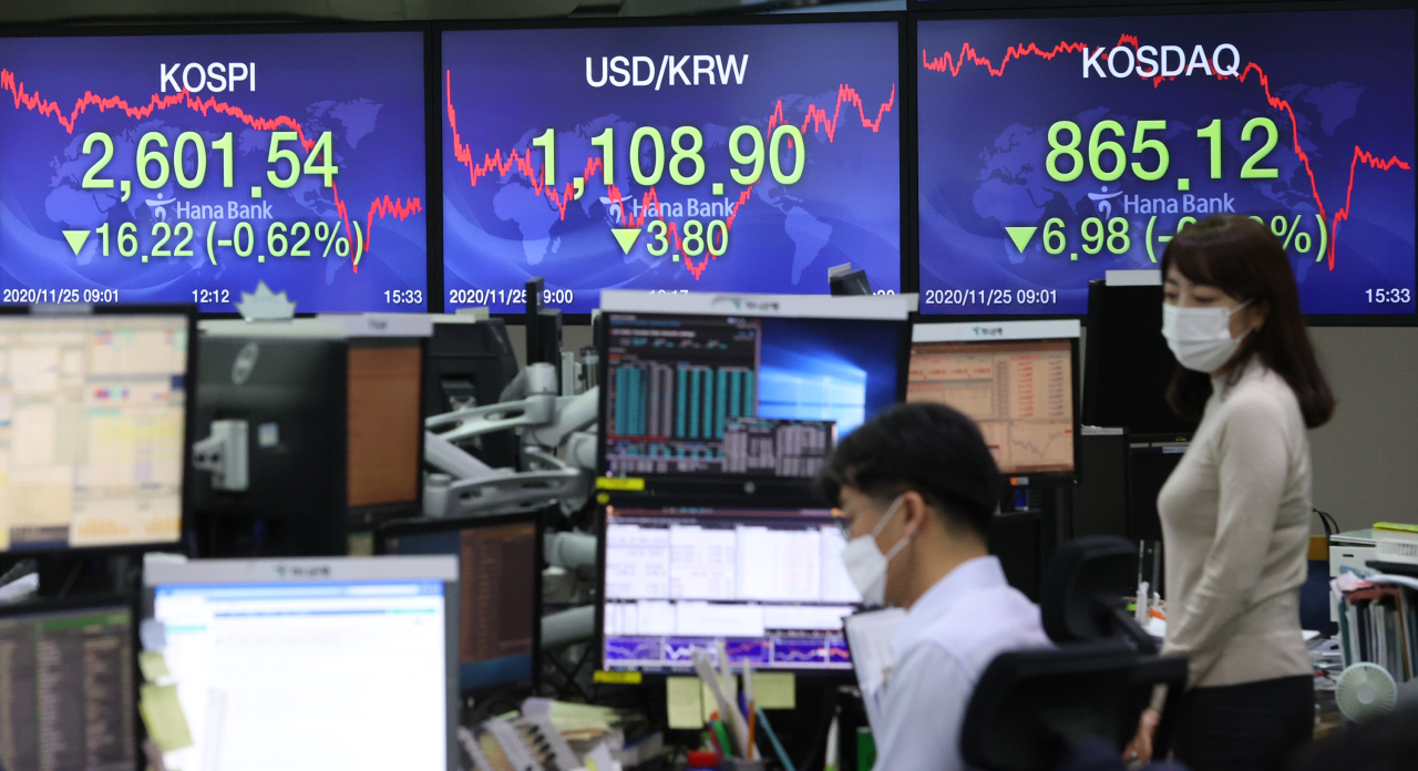 Electronic signboards at the trading room of Hana Bank in Seoul show the benchmark Kospi closed at 2,601.54 on Wednesday, fell 16.22 points or 0.62 percent from the previous session's close. (Yonhap)