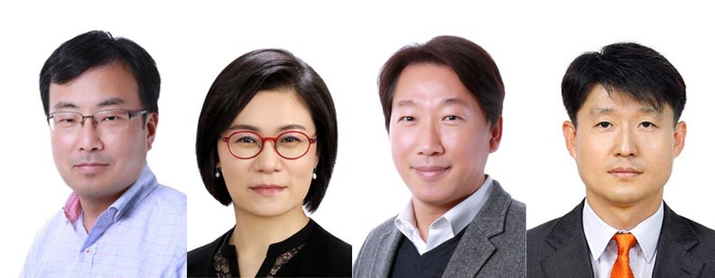 From left: Chief Technology Officer Yoon Soo-young, new Senior Vice Presidents Kim Hee-yeon, Lee Hyeon-woo and Lee Jin-kyu (LG Display)