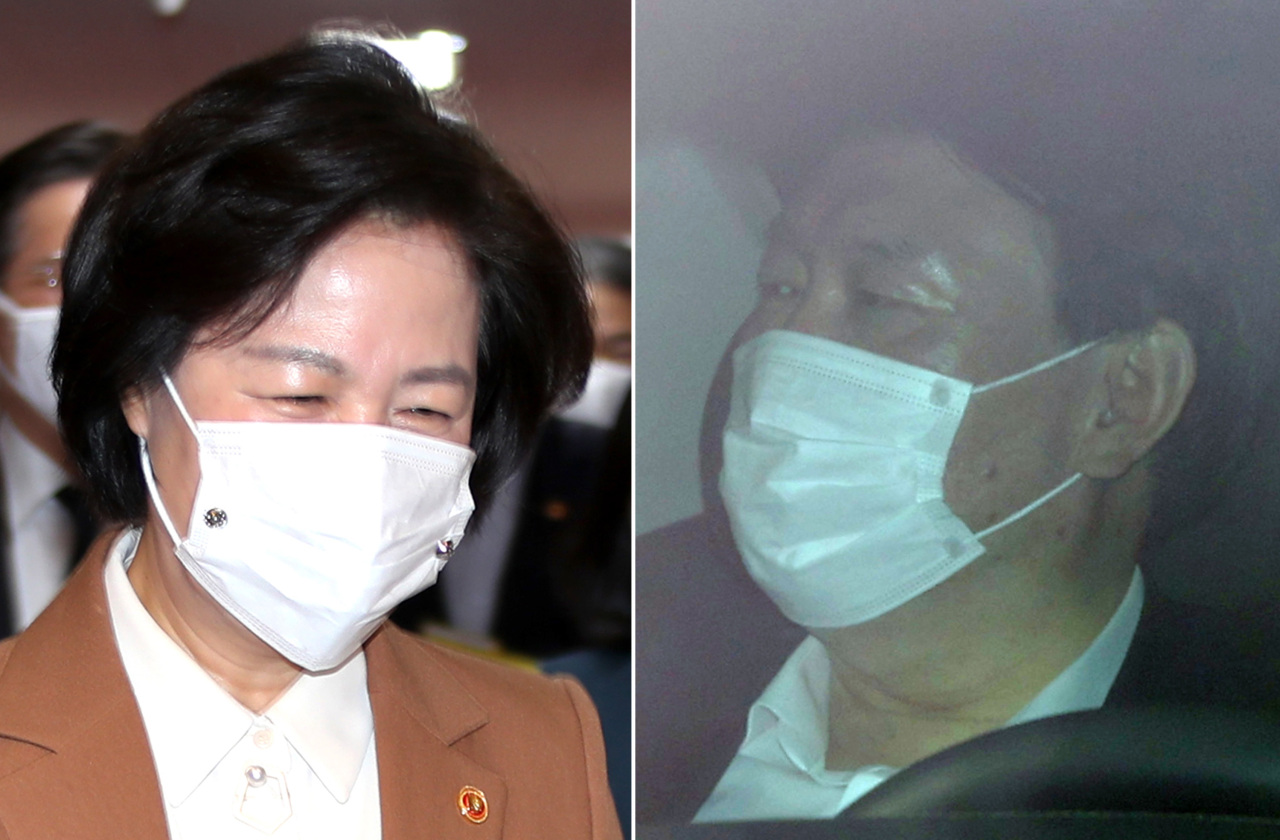Justice Minister Choo Mi-ae (left) and Prosecutor General Yoon Seok-youl (Yonhap)