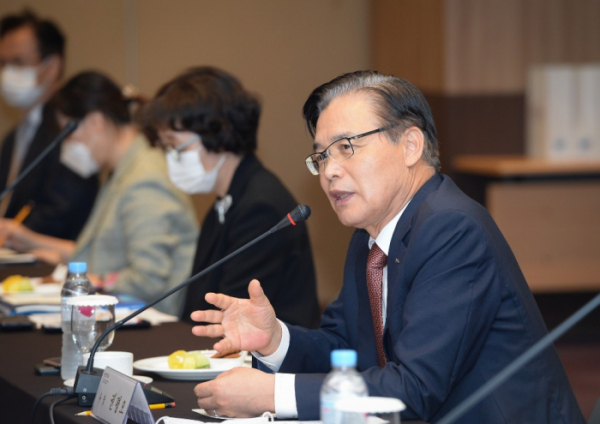 Kwon Pyung-oh, president of KOTRA, during a meeting with small and medium-sized enterprise leaders in September (KOTRA)