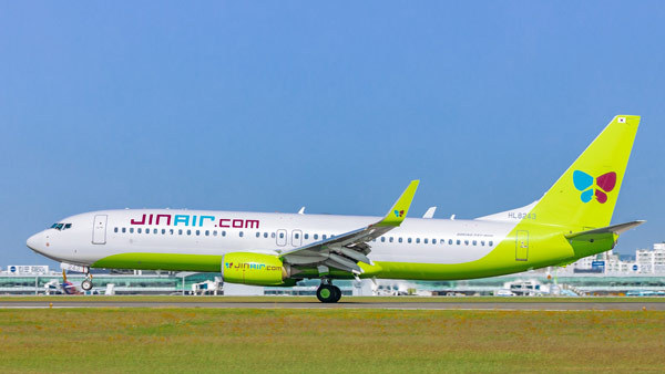 B737-800 passenger jet at Gimpo International Airport in western Seoul. (Jin Air Co.)