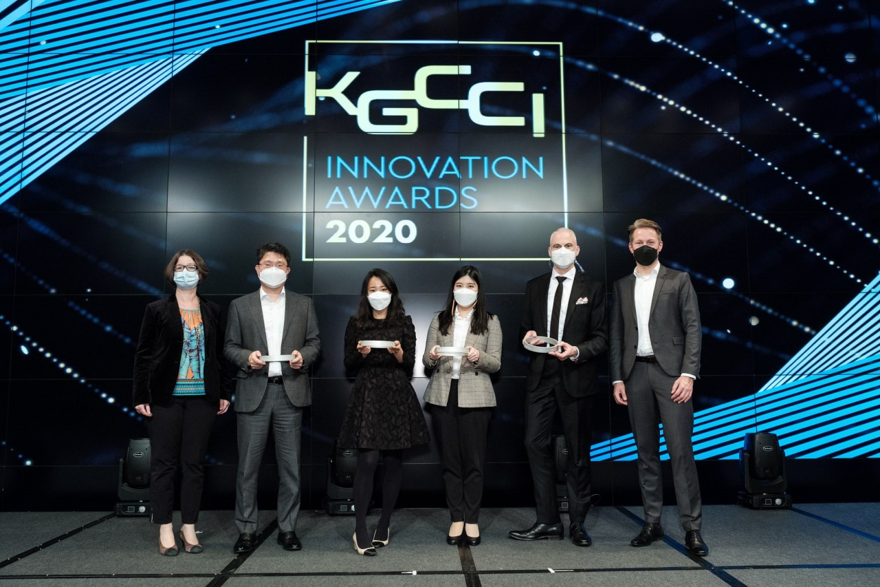 Winners of the 6th KGCCI Innovation Awards take a photo with Barbara Zollmann (far left), president & CEO of KGCCI, and Arne Kuper (far right), deputy head of the economics department from the German Embassy in Seoul, during a ceremony on Friday. (KGCCI)