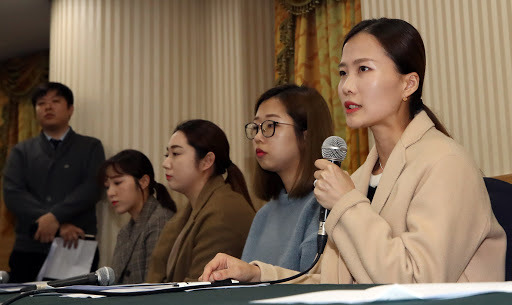 South Korea's Team Kim curlers speak at a press conference at Seoul Olympic Parktel, accusing their former coach and curling officials of verbal and emotional abuse on Nov. 15. (Yonhap)