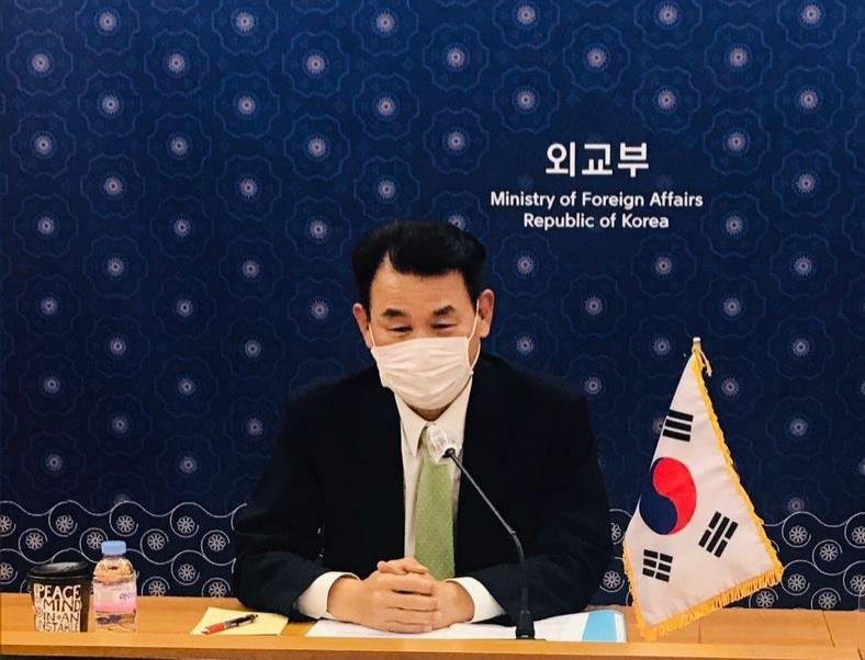 Jeong Eun-bo, South Korea's chief negotiator for defense cost sharing with the United States, speaks via video link to his US counterpart, Donna Welton, in Seoul. (Ministry of Foreign Affairs)