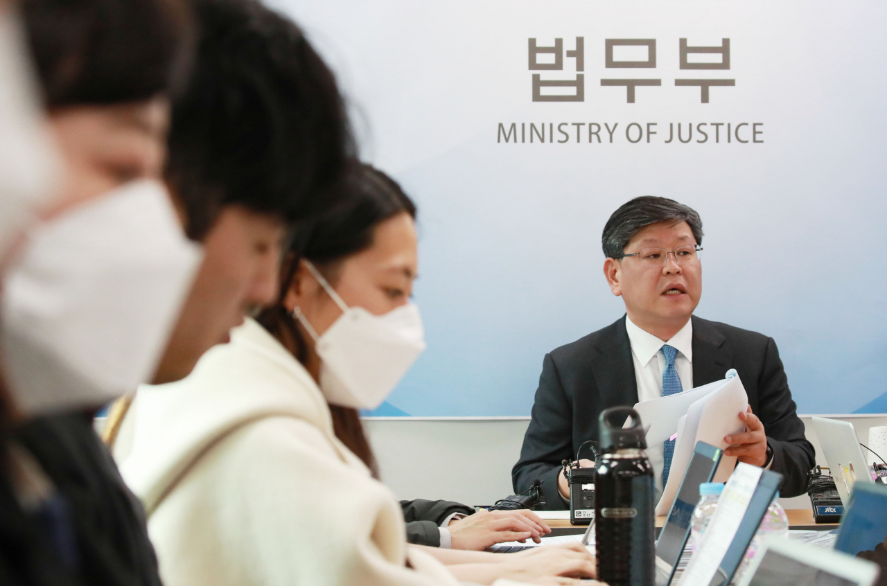 This file photo shows Lee Yong-gu, named as new vice justice minister, speaking to reporters on March 17. (Yonhap)