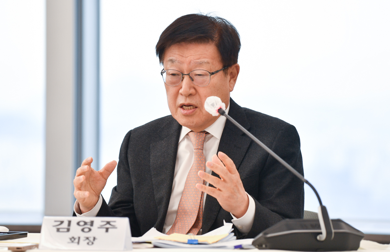 KITA Chairman Kim Young-ju speaks at a press conference in Seoul on Wednesday. (Korea International Trade Association)