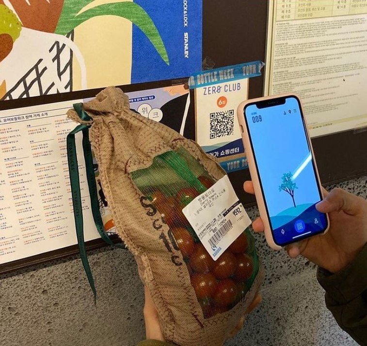 A participant in Your Bottle Week took this photo after going grocery shopping with reusable bags. People can download the Zero Club app and collect points when they use zero-waste stores. (Your Bottle Week)