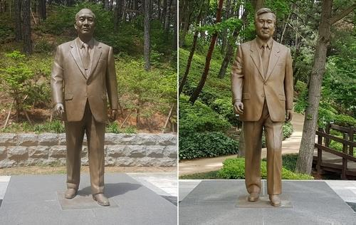 Statues of former Presidents Chun Doo-hwan (L) and Roh Tae-woo at Cheongnamdae park in Cheongju, central South Korea. (Government of North Chungcheong Province)