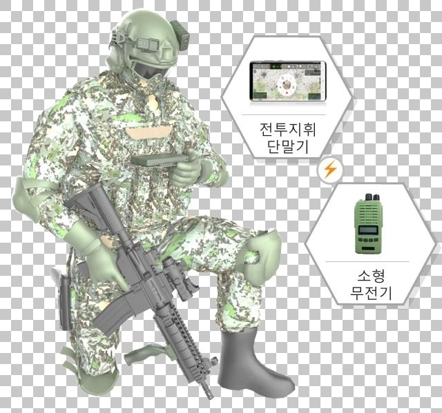 This image, provided by the arms procurement agency, shows a new combat command system developed by LIG Nex1 Co. using Samsung Electronics Co.'s Galaxy S20 smartphone. (Arms Procurement Agency)
