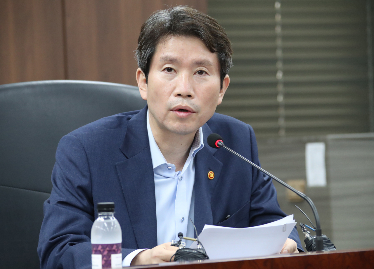 Unification Minister Lee In-young speaks during a meeting of the ministry at the government complex in Seoul on July 28. (Yonhap)