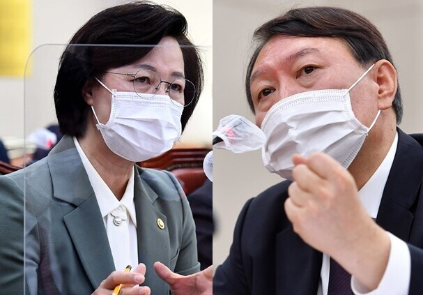 These undated file photos show Justice Minister Choo Mi-ae (L) and Prosecutor General Yoon Seok-youl. (Yonhap)