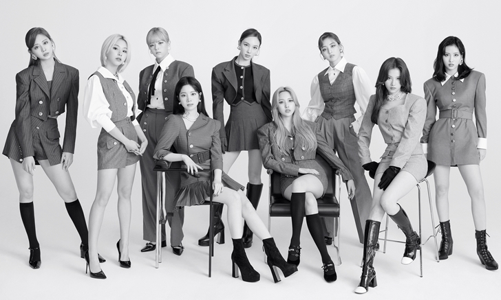 This photo, provided by JYP Entertainment, shows the nine-member girl group TWICE. (JYP Entertainment)