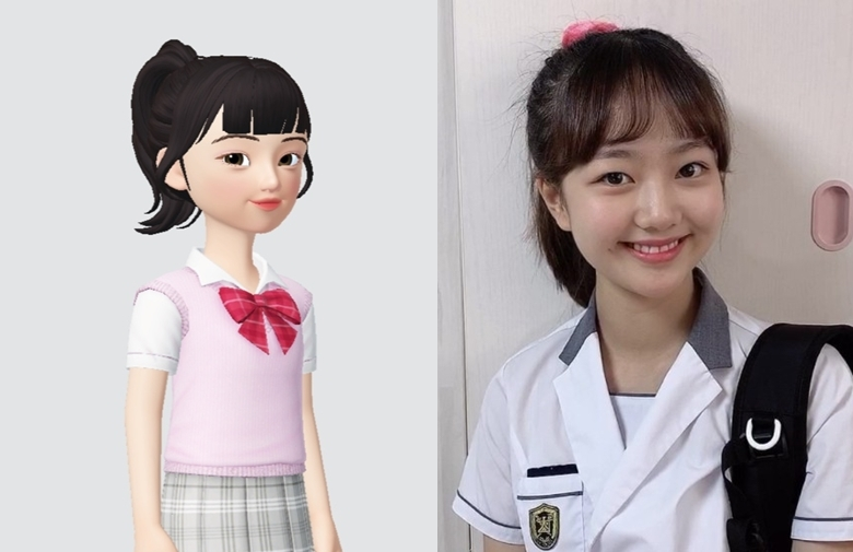 Child actor and creator Lee Chae-yun (right) and her Zepeto avatar (CJ ENM)
