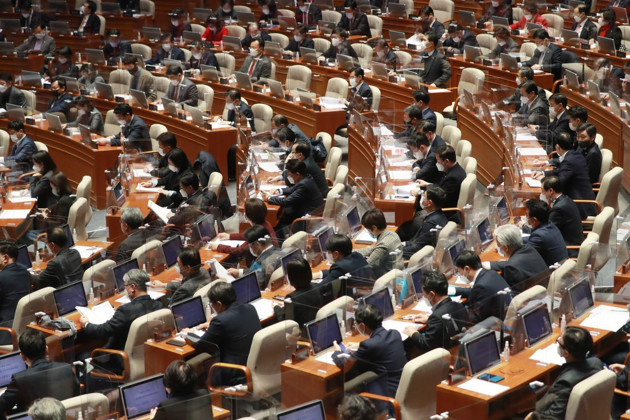 A plenary session of the National Assembly in Seoul on Dec. 2. (Yonhap)