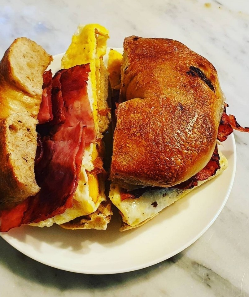 Lots O Bagels' egg sandwich features egg, bacon and melted cheese. (Photo credit: New York Lots O Bagels)