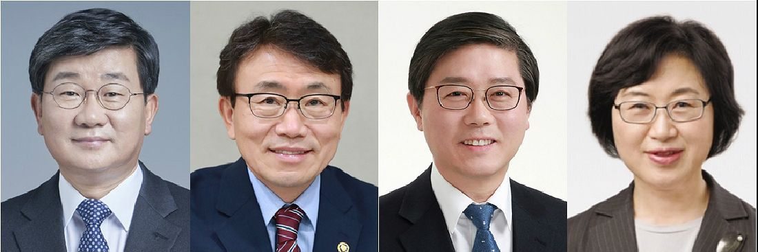 This composite file photo shows (from L to R) Rep. Jeon Hae-cheol of the Democratic Party, Korea Health Industry Development Institute chief Kwon Deok-cheol, LH chief Byeon Chang-heum and Korea Foundation For Women chief Chung Young-ai, who were nominated as new ministers of interior, health, land and transport and gender equality, respectively, by the president on Dec. 4. (Yonhap)
