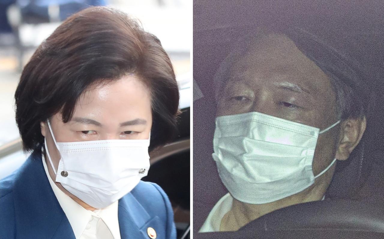 Justice Minister Choo Mi-ae (left) and Prosecutor General Yoon Seok-youl (Yonhap)