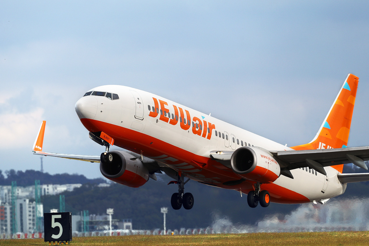 A plane of Korean budget carrier Jeju Air off at Gimpo International airport in Seoul. (Jeju Air)
