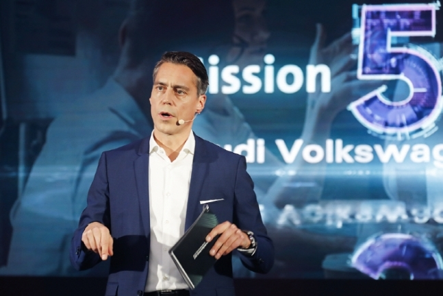 Rene Koneberg, managing director of Audi Volkswagen Korea, announces the group's business plans for next year at a digital press conference Friday. (Audi Volkswagen Korea)