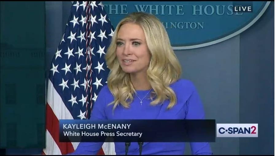 The captured image from US news network C-Span shows White House spokeswoman Kayleigh McEnany speaking in a White House press briefing on Tuesday. (C-Span)