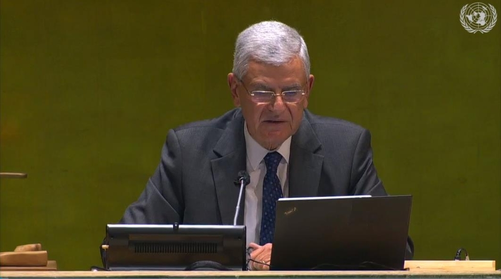 UN General Assembly President Volkan Bozkir speaking in a General Assembly meeting in New York on Tuesday. (Captured image from the website of the United Nations)