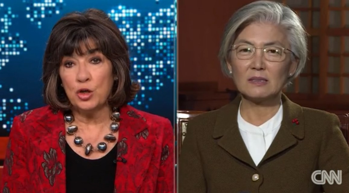 This captured image from the CNN website shows South Korean Foreign Minister Kang Kyung-wha (right) speaking with CNN chief international anchor Christiane Amanpour during an interview. (CNN)