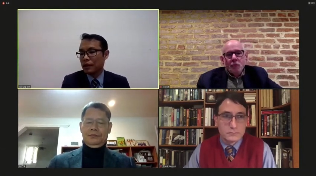 (Clockwise from top left corner) Professor Kim Ji Young of Institution for Unification Education of the Ministry of Unification, Joel Wit, a senior fellow at the Stimson Center, Frank Jannuzi, president of the Mansfield Foundation, and Kim Yeon-chul, former Unification Minister, speak during a videoconference on Friday. (YouTube)