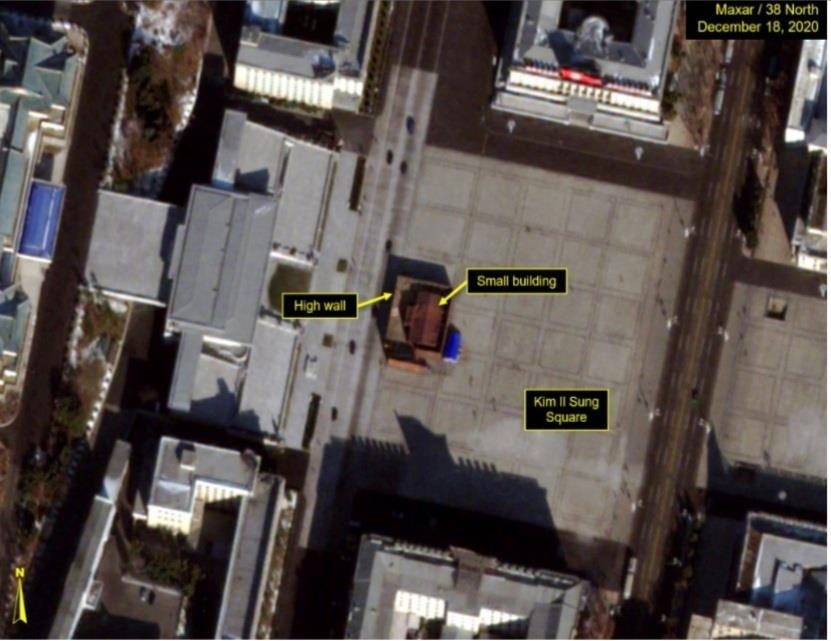 This photo uploaded on 38 North's website on Friday, shows structures at Kim Il-sung Square in Pyongyang. (38 North's website)