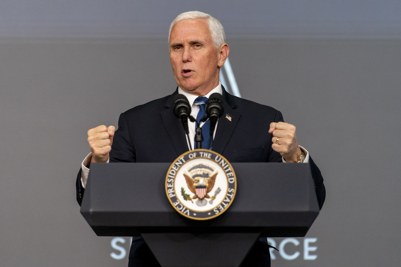 Vice President Mike Pence speaks at a ceremony to commemorate the first birthday of the US Space Force at the Eisenhower Executive Office Building on the White House complex, Friday in Washington. (AP-Yonhap)