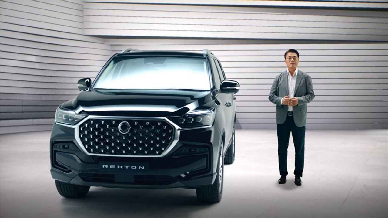 A SsangYong Motor Co. official introduces the New Rexton SUV during an online event on Nov. 9, 2020. (SsangYong Motor Co.)