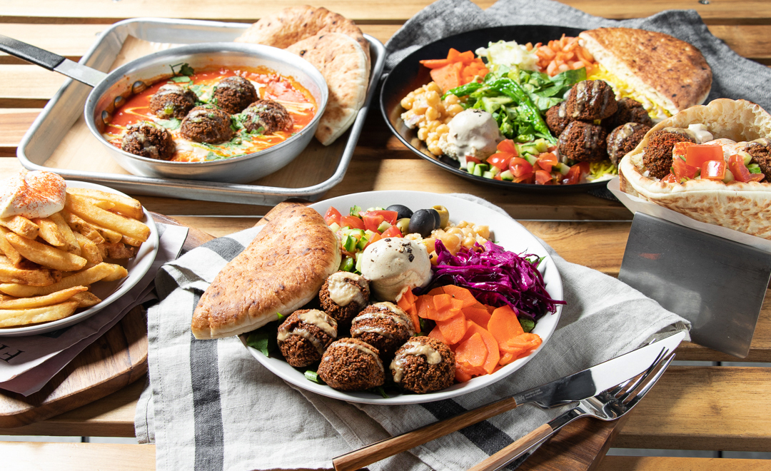 "Mediterranean-inspired salads loaded with a variety of vegetables and grains, fluffy gyros-style ""burgers,"" shakshuka and rice plates (Chick Peace)"
