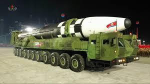 Shown in this image captured from Korean Central Television footage on Oct. 10, 2020, is North Korea's new intercontinental ballistic missile (ICBM), which was displayed during a military parade held in Pyongyang to mark the 75th founding anniversary of the ruling Workers' Party. (Korean Central Television)