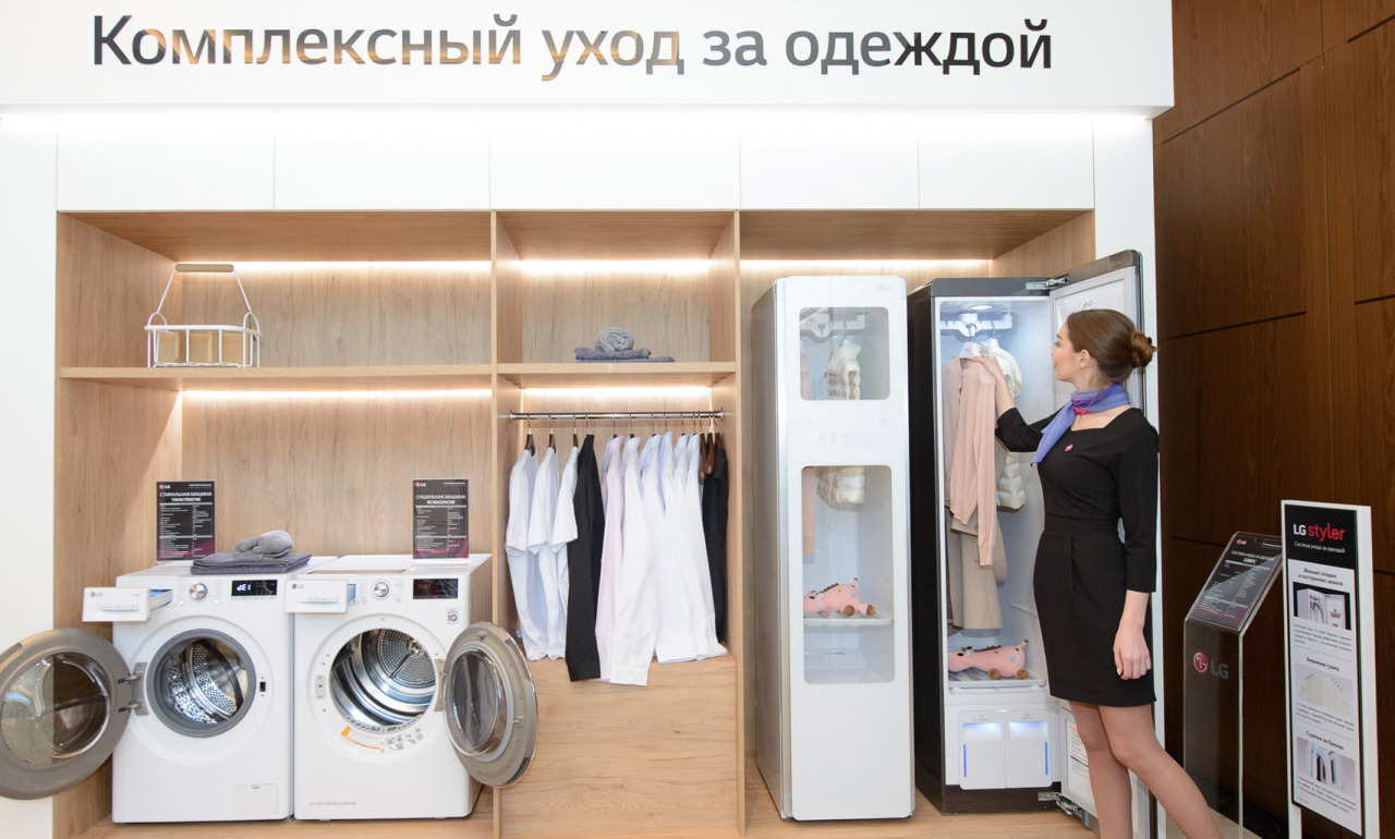 A model showcases the Tromm Styler at a showroom in Russia. (LG Electronics)