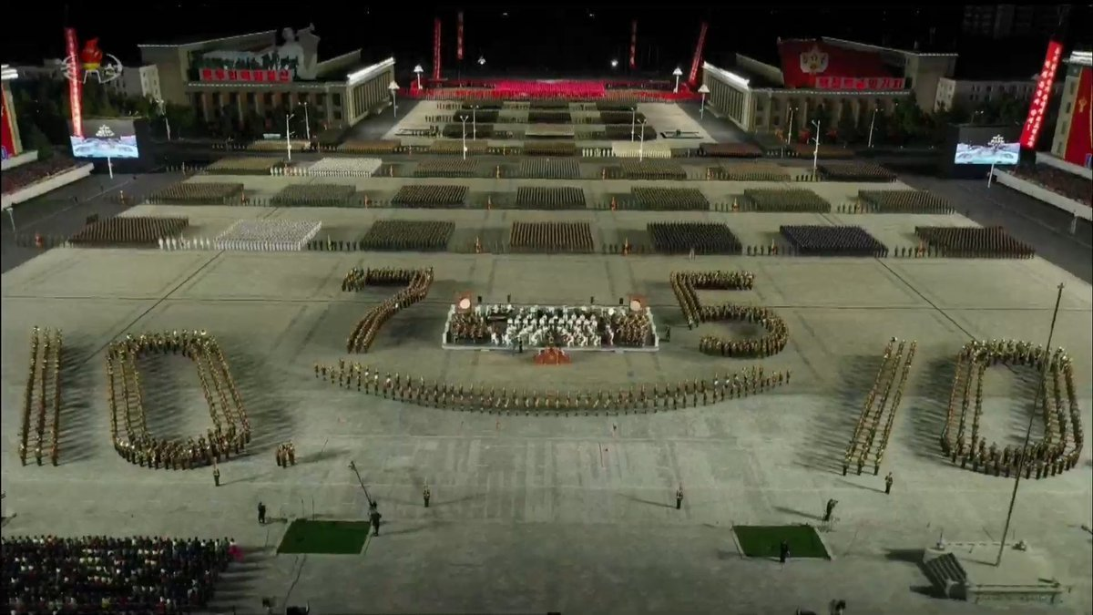 North Korean troops gather at Kim Il-sung Square in Pyongyang on Oct. 10, 2020, during a military parade to mark the 75th founding anniversary of the ruling Workers' Party, in this photo captured from the Korean Central Television. (KCTV-Yonhap)