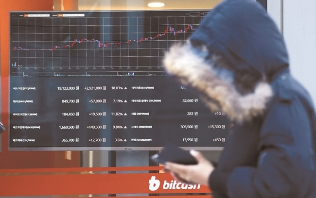 A local cryptocurrency exchange displays a price chart of bitcoin. (Yonhap)