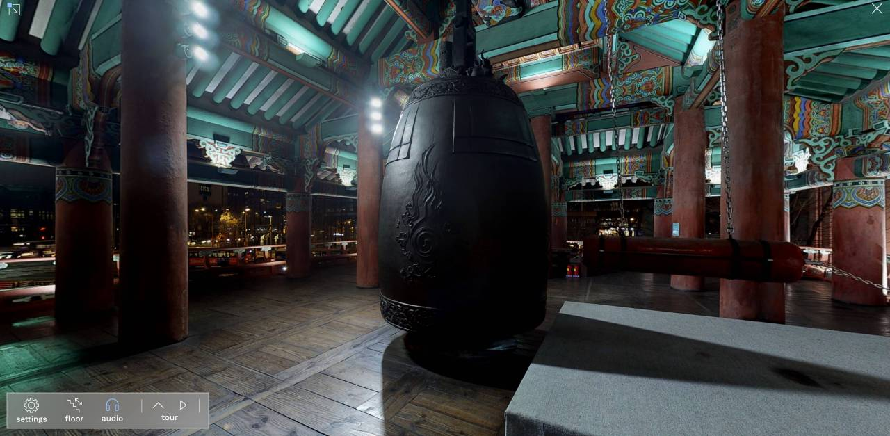 A virtual reality view of the bell inside the Bosingak Pavilion in central Seoul, created by SK Telecom. (SKT)