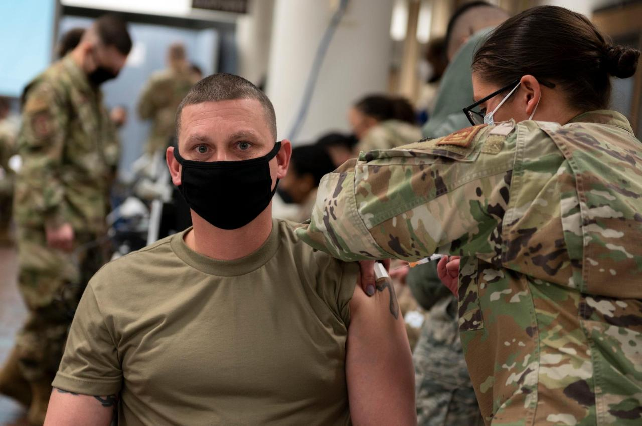 This photo, provided by the US Forces Korea (USFK), shows a USFK service member getting a COVID-19 vaccine at Brian D. Allgood Army Community Hospital at Camp Humphreys in Pyeongtaek, Gyeonggi Province, on Tuesday. (USFK)