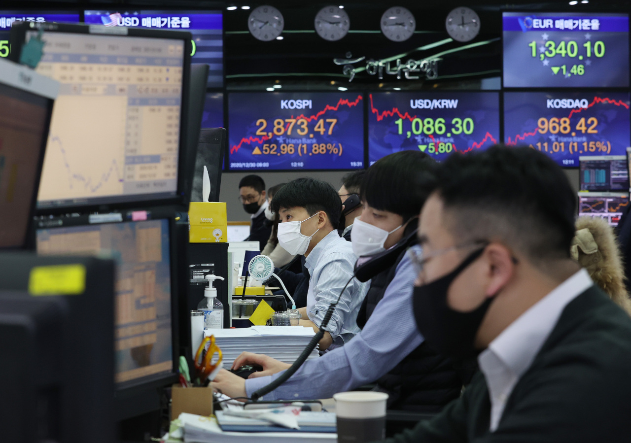 Hana Bank's dealers in Seoul wrap up the final session of stock, foreign currency trading of the year 2020 with Kospi closing by hitting another fresh high Thursday. The rising power of small investors appears to have left the stock market's year-end rally unperturbed, according to analysts. (Yonhap)