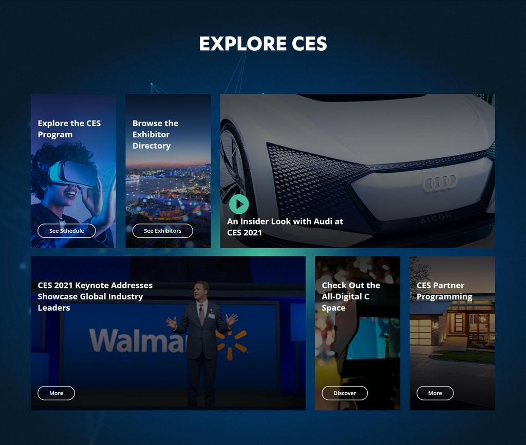 This image provided by the Consumer Technology Association (CTA) shows the website for the Consumer Electronics Show (CES) 2021. (Consumer Technology Association)