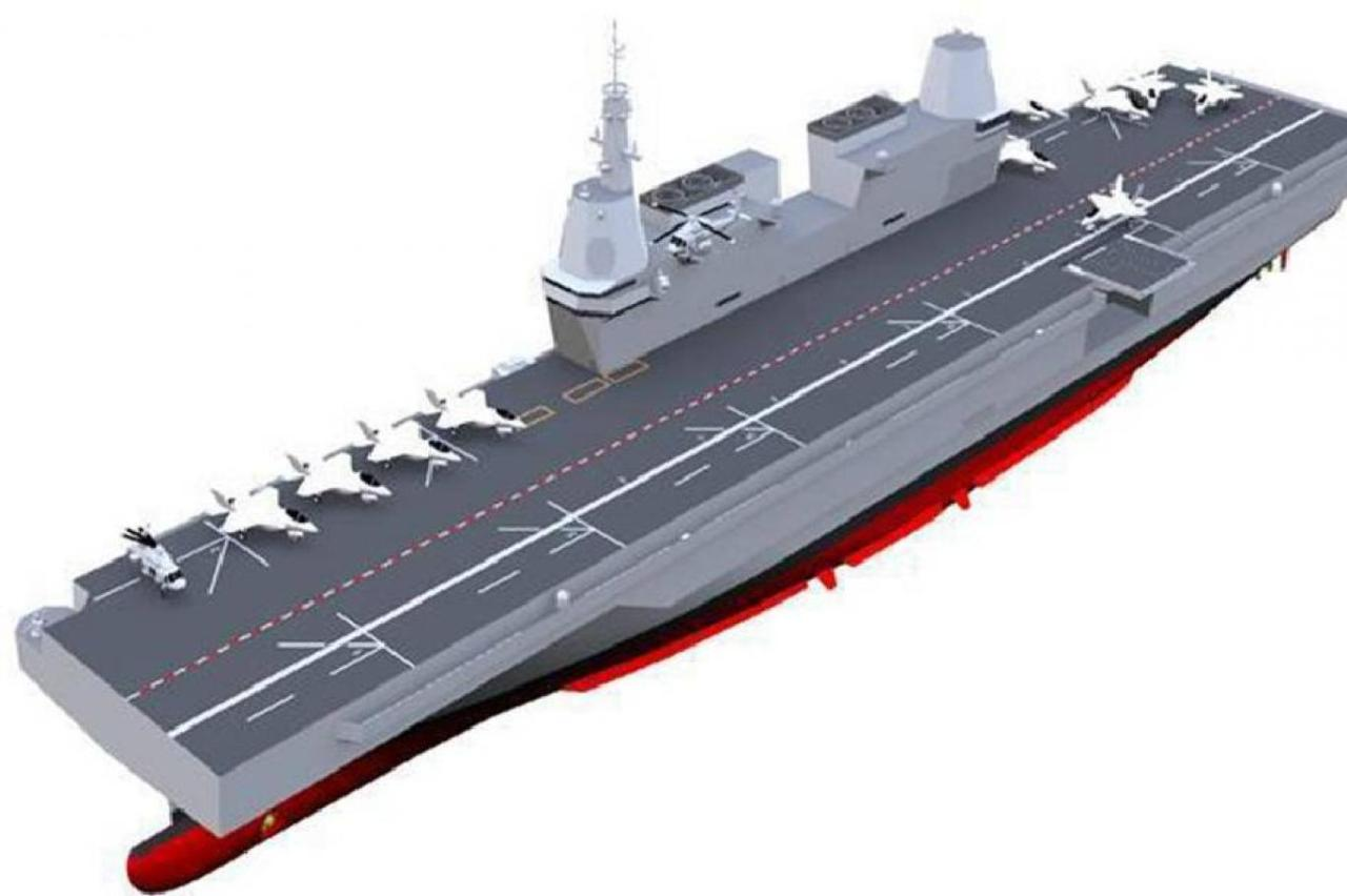 This image, provided by the defense ministry on Aug. 10, 2020, shows the envisioned light aircraft carrier South Korea is pushing to secure by 2033. (Ministry of Defense)