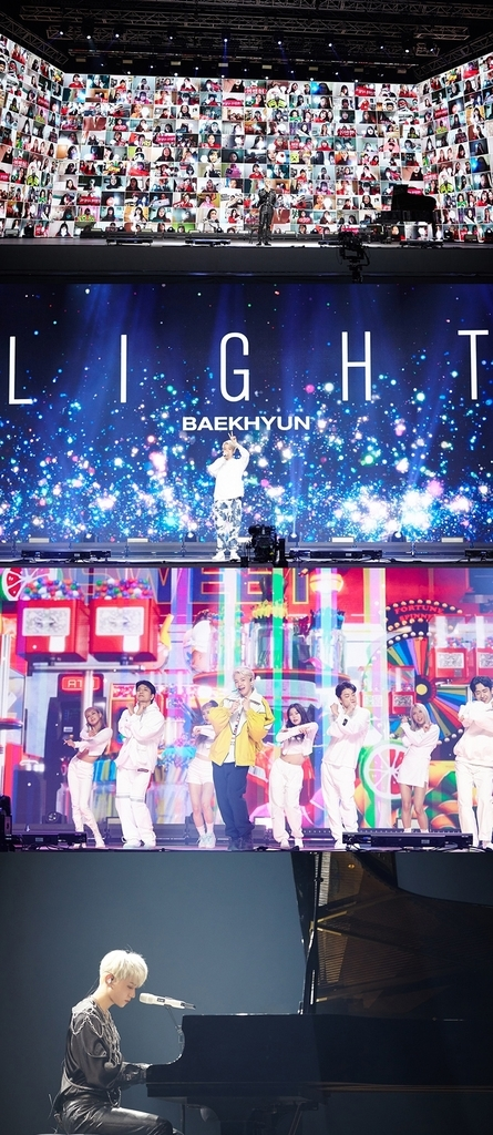 This image, provided by SM Entertainment on Monday, shows screenshots from Baekhyun's online concert