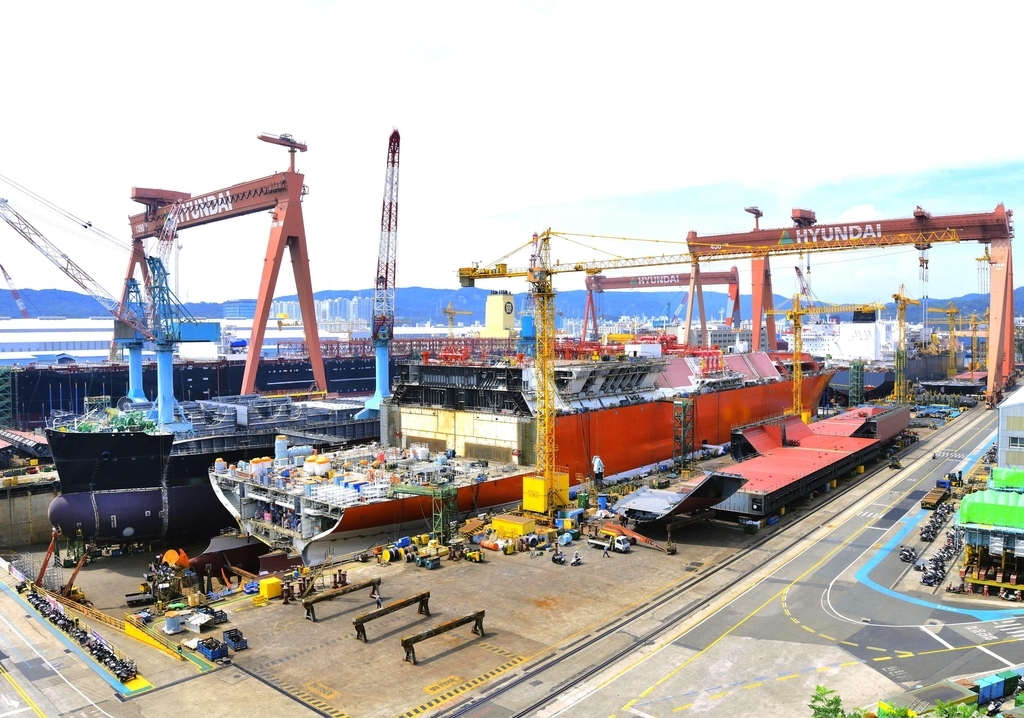 This photo provided by Korea Shipbuilding & Offshore Engineering Co. shows a shipyard of Hyundai Heavy Industries Co. in Ulsan, 414 kilometers southeast of Seoul. (Korea Shipbuilding & Offshore Engineering Co.)
