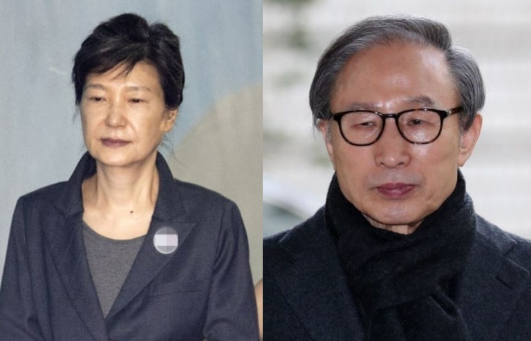 Compiled photo of former Presidents Park Geun-hye (left) and Lee Myung-bak (Individual photos courtesy of Yonhap)