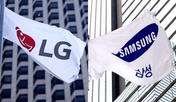 Flags bearing the LG and Samsung logos (LG and Samsung)